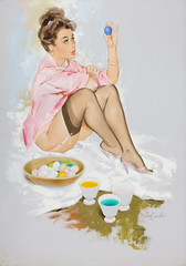 Easter Egg Coloring by Fritz Willis, 1962 (gameraboy) Tags: fritzwillis pinup pinupart art illustration vintage painting eastereggcoloring 1960s 1962 legs stockings nylons thighhighs garterbelt easter easteregg egg eggs eastereggs