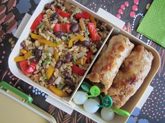 Bento 607 (Sandwood.) Tags: food meal dish cooking bento lunch lunchbox blackbeans rice porkrolls pickles