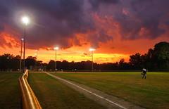 The Home Team was on Fire Tonight (nelhiebelv) Tags: softball delta township erickson park nigh sunset