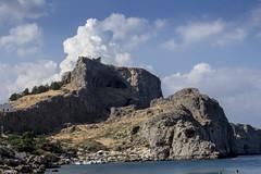 Lindos Acropolis from St Pauls Bay (ir0ny) Tags: rhodes greece lindos saintpaulsbay acropolis akropolis lindosacropolis lindosakropolis bay sea mediteranean ruins ancientruins lindian