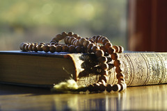 Reflecting ... (Elisafox22) Tags: elisafox22 sony ilca77m2 100mmf28 macro macrolens telemacro lens prayerbeads beads wooden windowswednesday reflections lifeisarainbow yellow stilllife book coleridge poetry prayer reflection bokehwednesday indoors sunshine elisaliddell©2018 htt hww hbw texturaltuesday