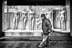 The passerby (irina_sigl_photography) Tags: streetphotography street blackandwhite fineart man passerby dolls mannequins model naked curvy