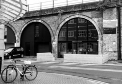 Best Coffee Under the Railway! (WorcesterBarry) Tags: blackwhite bnw blackandwhite buildings reflection railway travel places photographers paths bike street streetphotography streetphoto sky