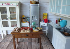 Bakery kitchen (Foxy Belle) Tags: doll dollhouse playscale barbie kitchen bakery food miniature cottage white wood wooden sweets treats rement 16 scale sears kenmore blythe bake room scene