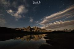 Grand Galibier au clair de lune (Hervé D.) Tags: cerces galibier valloire montagne mountain moon moonlight lune clairdelune reflet reflection star étoiles