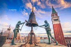 Venezia_0653_Torre_dellOrologio (ivan.sgualdini) Tags: italy seaitaliano bell city clock italia sky statue sunset torredellorologio tower venezia venice veneto it