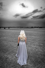 Point of view (mpakarlsson) Tags: bw nocolor view pov light sun cloud clouds canon wide wideangle back dress prom evening girl woman hair sky grass field sweden llens 5dmark3 5dmarkiii 5diii 5dm3