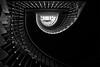 Tenement (Pete Rowbottom, Wigan, UK) Tags: tenementbuilding edinburgh scotland spiral staircase mono blackandwhite wideangle lightanddark exposure composition shadow detail light victorian nikond750 peterowbottom art stairway moody lines naturallight
