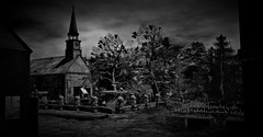Harness The Shadows (Loegan Magic) Tags: secondlife innsmouth hplovecrafttributeearly1930smassachusetts hplovecraft church newengland cemetery stonewall buildings trees grass blackandwhite landscape sky clouds dark frombeyond quotes