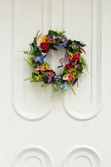 Spring Wreath (ranzino) Tags: ceremony lititz memorialday moravianchurch pa pennsylvania cemetery church door holiday wreath unitedstates us