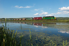 3823 at Union Meadows (jc_canon) Tags: newhampshirenorthcoast nhn unionmeadows wakefieldnewhampshire nhn3823 reflection water waterscape train freight freighttrain