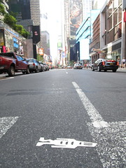 Tallish Stikman White Robot Tile Times Square NYC 7108 (Brechtbug) Tags: a return stikensian era white robot tile stikman broadway times square nyc street art graffiti tag tagging stencil cut out toynbee stickman asphalt figurative school flat action figures new york city 08102018 cross walk smoke 2018 stik man men curious streets summer heat august