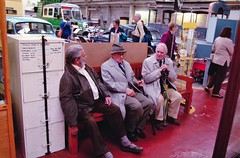 Vosper Arthur, Percy Metcalfe & Lord Cottesloe at the Wirral Transport Museum, Birkenhead (photo by Tony Marshall)