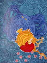 samovar (lilotus32@ymail.com) Tags: art contemporaryart creation drawing painting picture watercolour акварель джаз искусство рисование творчество samovar night wings blue red самовар ночь крылья синий красный