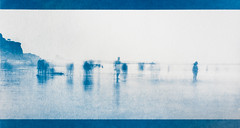 Ghosts of the beach cyanotype version (Attila Pasek (Albums!)) Tags: archaic alternative cyanotype people infrared print digital photography ghost transfer beach method printed negative portugal