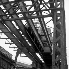 Remnants (colinpoe) Tags: infrastructure blackandwhite rolleiflex mediumformat myrtleaveelevated mta grafitti abandonded tmax100 6x6 tlr brooklyn bushwick nycsubway urban rolleiflexautomat ruins 120 nyc newyorkcity rolleiflexautomatk4a gothamist ghosttracks bw traintracks el railroad