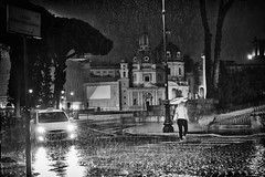 crossing the street (ale_brando) Tags: zebracrossing street girl umbrella taxi veicle car streetphotography night nightlife nightphotography roma rome blackwhite monochrome mono nikonfx fx d700 silverefexpro niksoftware domes