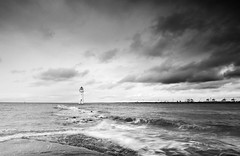 Perch rock lighthouse edit (Alf Branch) Tags: perchrock lighthouse sea seaside seawaves seascape seashore water waves wave mersey rocks rough roughsea clouds mono beach bw blackandwhite alfbranch olympus omd olympusomdem5mkii panasonic leicadg818mmf284