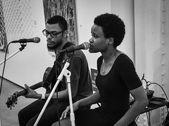 Duo (tim.perdue) Tags: duo man woman person figure candid street duet two black white monochrome bw band musician singer vocalist guitarist guitar musical instrument concert performance mic microphone jazz soul rb pop ohio state fair cox fine arts exhibition gallery opening reception entertainment 2018 summer exposition center