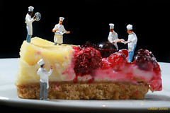 Master Chefs (Allan Jones Photographer) Tags: macro oohoscale models figures cooks chefs cooking cheesecake yummy arty artistic funny littlefigures imagination unusual berries allanjonesphotographer canon5div canonef100mmf28lisusmmacro flickrclicx