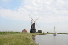 Berney Arms Norfolk. (Andy bradders) Tags: windmill windpump norfolk river yare mill clinker reedham millwrights kiln scoop wherry marshland restored stolworthy 1865 1880 1948 ancient broads boats motor pumps drainage bank grind footpath black tar nikon d7100 grass sky greatyarmouth andybradders andybradshaw andrewbradshaw norfolkbroads riveryare berneyarms reedhamcementcompany englishheritage england uk sails moorings explored explore flickrexplore flickrexplored sailboat norfolkcap petticoat fantail