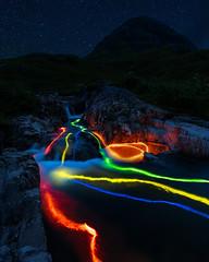 Glencoe Glow Stick Fun! (grahamwilliamson1985) Tags: glencoe glowstick lighttrails neon waterfall mountain scotland scenic night astro stars meteor meteorshower