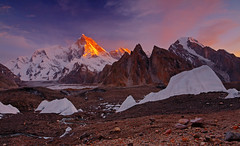 Masherbrum: Guardian of the Baltoro (Shahid Durrani) Tags: masherbrum urdukas goro one k1 baltoro glacier karakorams karakoram range gilgitbaltistan seracs sunset pakistan
