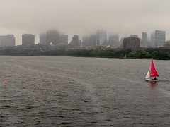 Boston under fog (Meredith Jacobson Marciano) Tags: boston charlesriver fog sailboat