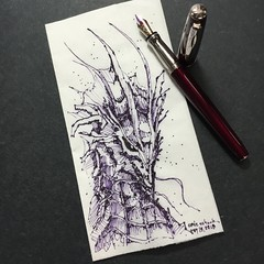Majestic beast (schunky_monkey) Tags: penandink ink pen fountainpen illustration art drawing draw sketching napkinsketch sketch napkin fantasy beast mythical firebreather dragon