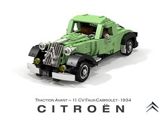 Citroen Traction Avant 11CV Faux Cabriolet (1934) (lego911) Tags: citroen 11 cv traction avant 11cv faux cabriolet coupe 1934 1930s classic vintage french france fwd auto car moc model miniland lego lego911 ldd render cad povray paris foitsop