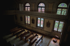Chapel (Irrational Photography) Tags: urbex montreal quebec city canada canon slr dslr 5d mark iii digital photo picture lens architecture up ceiling look looking tilt light cloud glass rectangle support window sky skylight atrium symmetry building structure line indoor shadow contrast dark mood atmosphere soft fade curve chapel church stained arch sunbeam