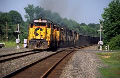 Chessie GP40-2 6103, 4243, SBD 6658, B&O 6577, Chessie GP40-2 4158 east bound at Monocacy PA, June 6, 1987 (swissuki) Tags: chessie monocacy pa railroads us gp402 gp40