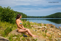 Courtney at The Quabbin (Peter Camyre) Tags: portrait quabbin reservoir peter camyre photography swimsuit water female model summer fashion pose canon posing pretty beauty beautiful imahe picture sky clouds trees grass bathing suit
