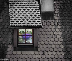 The Other Side (brookis-photography) Tags: blackandwhite roof reflection window rooftiles town building