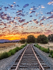 Railroad Track Sunrise (http://fineartamerica.com/profiles/robert-bales.ht) Tags: aupload forupload gemcounty haybales idaho land people photo places projects states sunrisesunset sunsetorsunrise toworkon barn sunrise sunset fence butte squawbutte mountain idado landscape emmett treasurevalley scenicbiway americaphotography valley idahophotography beautiful sensational spectacular magnificent surreal sublime magical spiritual inspiring canonshooter scenic wow stupendous superb building grass hay trees yellow blue robertbales sky railroad tracks orange red