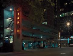 PARKING - Kodak Portra 800 (Jovan Jimenez) Tags: star flare canon eos elan 7ne 40mm stm kodak portra 800 f28 7s 30v 33v film night parking downtown plustek opticfilm 8200i burst streetphotography