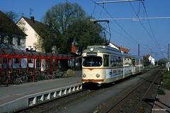 Rhein-Haardt-Bahn 1018+1058 in Maxdorf, 16.04.2003 (Tramfan2011) Tags: strasenbahn düwag rheinhaardtbahn rhb 1000mm tram germany deutschland tranvia tramway
