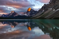 Sun-kissed Morning at Bow Lake (Cole Chase Photography) Tags: sunrise alpenglow bowlake icefieldsparkway alberta canadianrockies canada reflections
