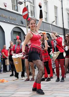 Belfast based community samba band BEATnDRUM performing at Glasgow's Merchant City Festival