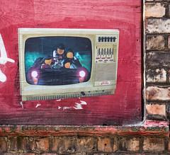 Face the Strange car journey (PDKImages) Tags: streetart manchesterstreetart posterart urbanart street scene manchester