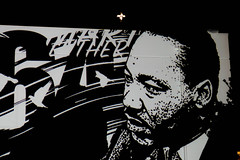 MLK and the cross (aleccowan12) Tags: celebration streetart art murals city urban streets aiko wk interact eugene oregon painting paintbrush architecture town design festival mural artwork mlk lighting night day