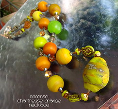 Necklace Immense Chartreuse Orange (Laura Blanck Openstudio) Tags: openstudio openstudiobeads murano glass handmade lampwork beads jewelry big huge whimsical funky odd colorful multicolor abstract asymmetric earthy organic boho upscale art fine arts artist artisan made usa nuggets rocks rounds donut bold bright necklace rock matte frosted etched opaque glowing glow silvered czech chartreuse kiwi parrot lime orange yellow ocher mango coral honey caramel apple green
