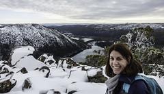 Jen with Lake Seal (I think) in the background. Sights walking the Tarn Shelf, Mount Field National Park-15 (Tasmanian.Kris) Tags: jenfitzgerald snow winter tasmania bushwalking walking cold white lake tarn hike hiking mtfieldnationalpark tarnshelf