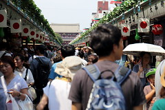 Wall to Wall people (j.farrimond) Tags: japan tokyo travel movement international canon l series busy people stalls shops festival flags red white blue asia bustle