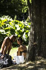 Park (juliamancho) Tags: park green boy girl woman man yoga tree arbol hombre mujer