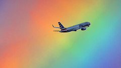 Lost in a Rainbow (PH-OTO) Tags: approved aviation aircraft flying aribus boeing plane spotting planespotting beoing 757 american airlines amsterdam airport schiphol rainbow weather take off 757200