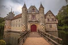 "across the drawbridge, the lovely Château de Saint Germain de Livet, fine art colour, Pays d'Auge, Normandy, France (grumpybaldprof) Tags: ""châteaudesaintgermaindelivet"" ""paysd'auge"" normandy normandie france medieval renaissance artists collombage ""halftimber"" moat castle chateau liseiux ""greenstones"" copper slate beautiful history monument museum ""eugènedelacroix"" calvados ""léonriesener"" canon 70d ""canon70d"" sigma 1020 1020mm f456 ""sigma1020mmf456dchsm"" ""wideangle"" ultrawide ""fineart"" ethereal striking artistic interpretation impressionist stylistic style drawbridge charming mood atmosphere check water reflections"