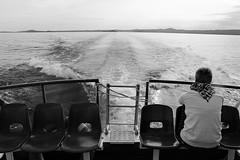 Save yourself... (modestino68) Tags: bn bw lago lake nave ship scia trail donna woman amore love kaleo