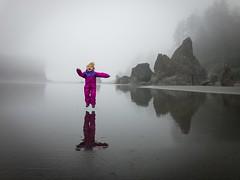 "Nature's Playground! (matt.sellars) Tags: ""foggybeach"" foggy ""olympicpeninsula"" washington toddler jump reflection beach ""rubybeach"""