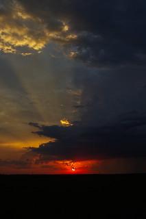 sunset, thunderstorm